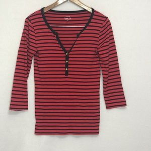 J CREW PERFECT FIT V-NECK 3/4 SLEEVE SMALL T-SHIRT